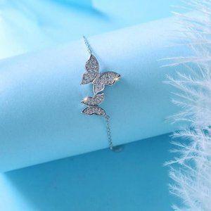 NEW 925 Sterling Silver Diamond Butterfly Bracelet